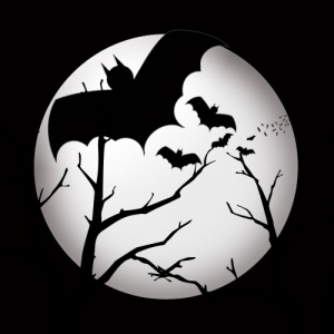 Halloween Bats Full Moon