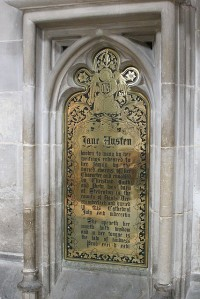 Memorial plaque honoring Austen at Winchester Cathedral.