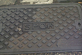 SPQR on a manhole in Rome.